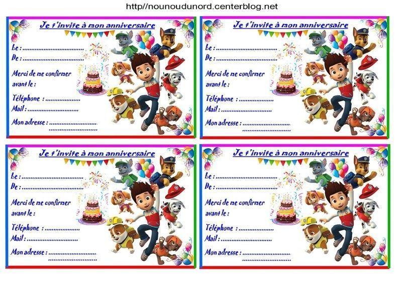 Exceptionnel Etiquettes et invitations PAT PATROUILLE pour anniversaire AI35
