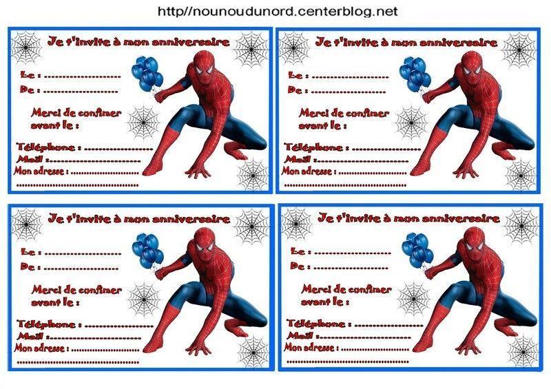 Etiquettes et invitations spiderman pour anniversaire - Photo de spiderman a imprimer gratuit ...