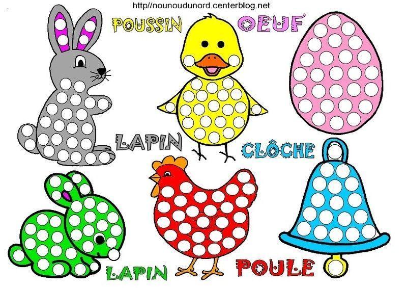 lapins poules oeufs poussins cl ches coloriage gommettes. Black Bedroom Furniture Sets. Home Design Ideas