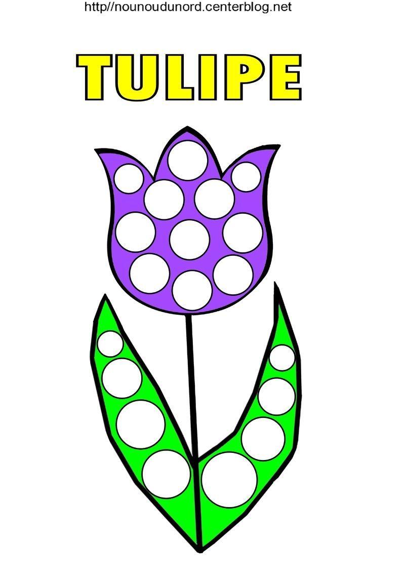Tulipe coloriage et pour gommettes