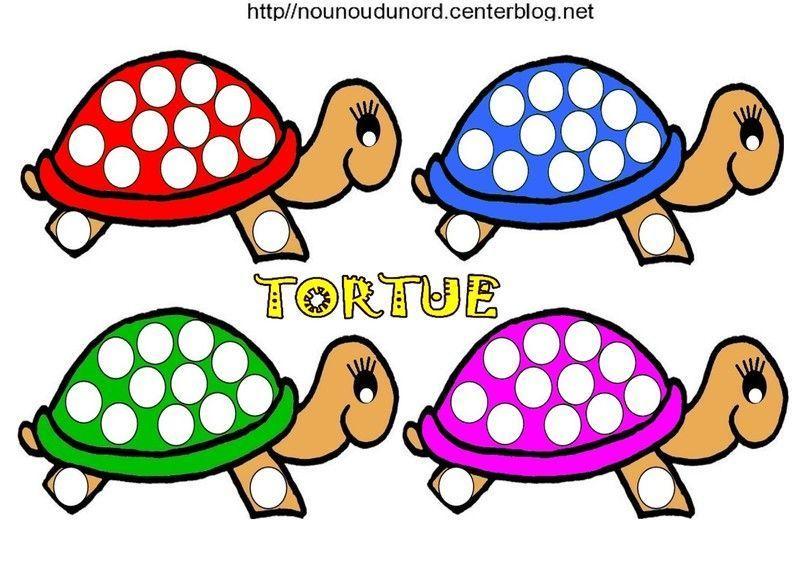 Coloriage tortue et pour gommettes - Tortue en dessin ...