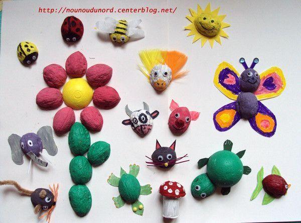 Panorama de toutes les créations avec les coquilles de noix