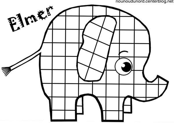 Coloriage élephant Elmer