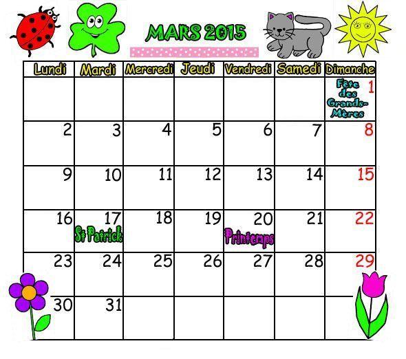 CALENDRIER MARS 2015