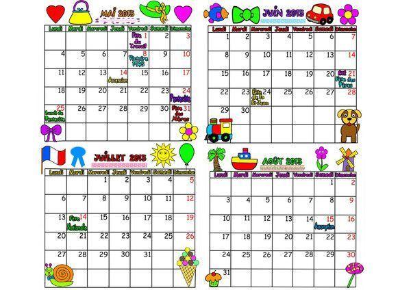 calendrier 2015 sur 4 mois de mai à août