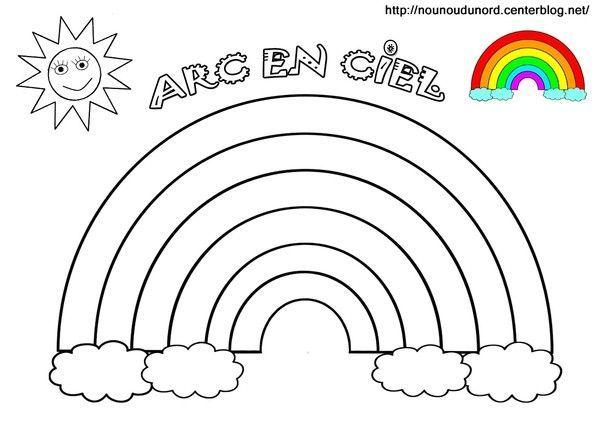 Coloriage arc en ciel et a gommettes - Arc en ciel dessin a colorier ...