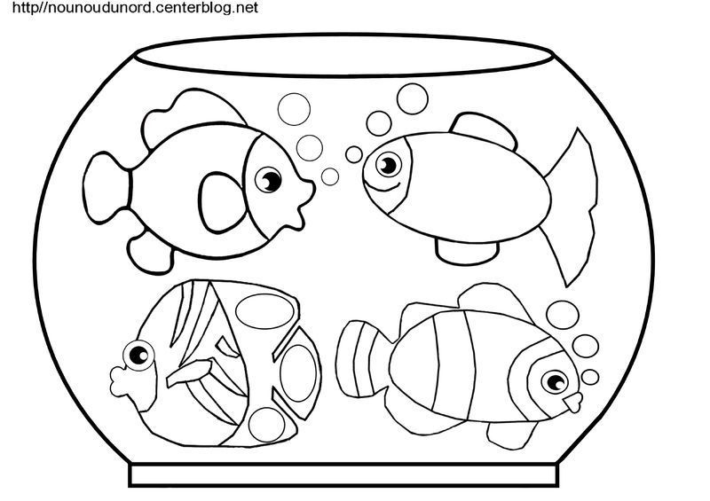 Coloriages poissons for Aquarium poisson rouge dessin