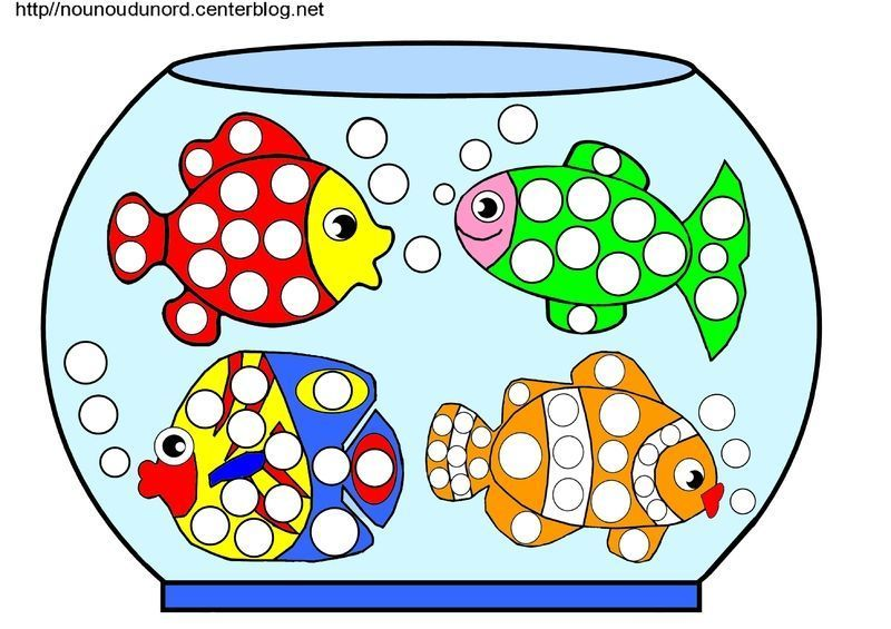 Aquarium poissons coloriage gommettes en couleur for Aquarium poisson rouge dessin