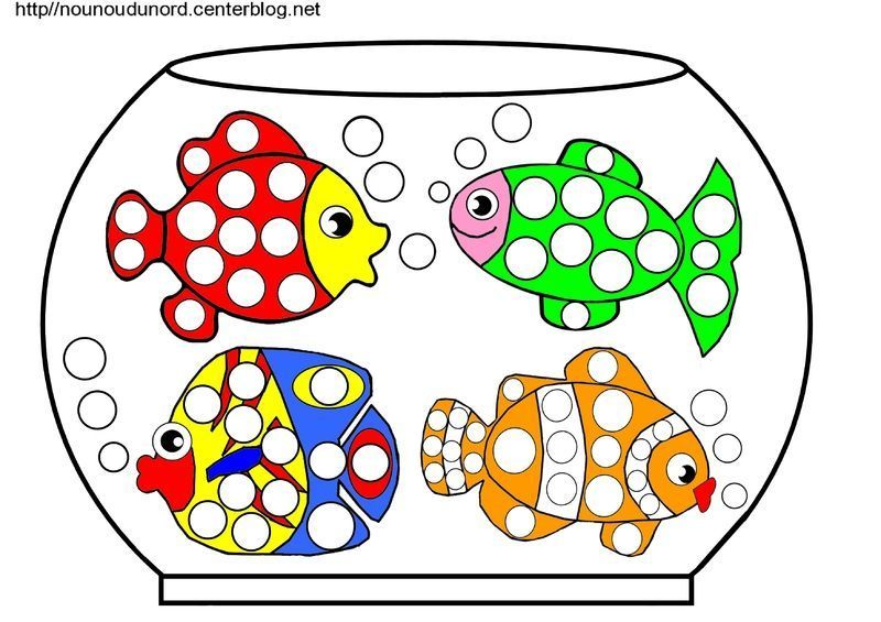 Aquarium poissons coloriage gommettes en couleur for Bocal de poisson