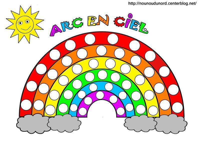 Arc en ciel colorier gommettes et en couleur - Arc en ciel dessin a colorier ...