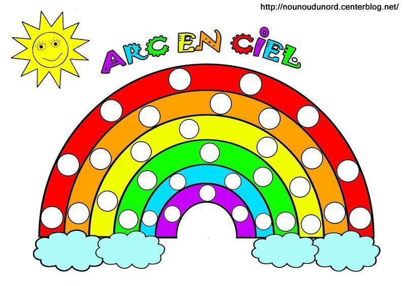 Arc en ciel colorier gommettes et en couleur - Dessin de fleurs a imprimer en couleur ...