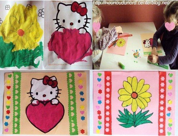 cadre papier hello kitty et fleurs