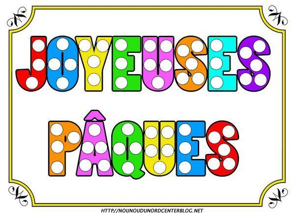 Texte Joyeuses Pâques en couleur pour gommettes
