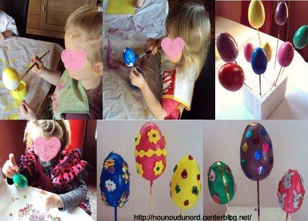 Explications des oeufs de Pâques peint et décorés
