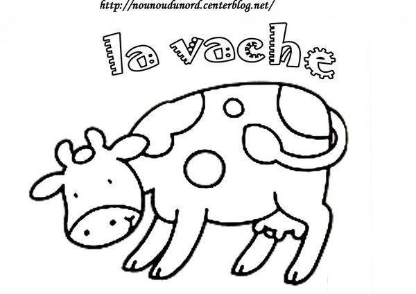 Coloriage vache - Vache dessin facile ...