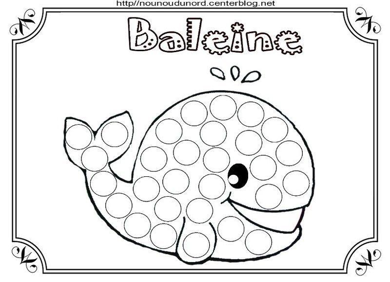 Coloriage La Baleine A Gommettes Et En Couleur
