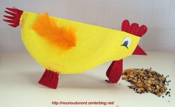 Poule de Pâques réalisée avec une assiette en carton