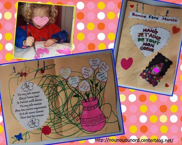 Carte de Soline 2 ans  pour la fête de sa mamie