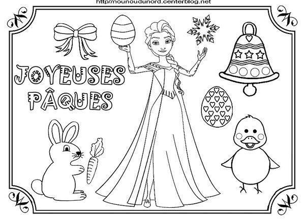reine des neige elsa et olaf coloriage de pques - Coloriage Reine Des Neiges Olaf