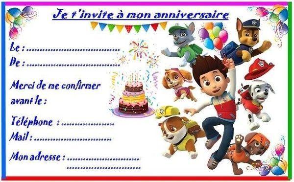 Célèbre et invitations PAT PATROUILLE pour anniversaire SK41