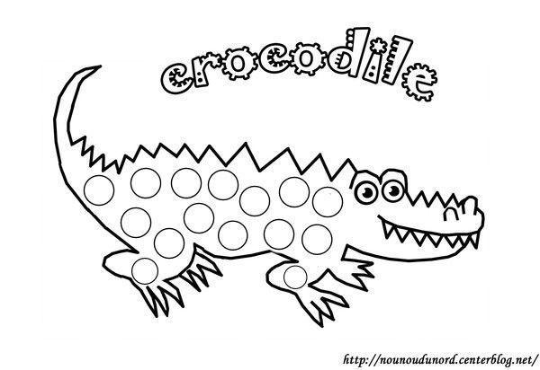Coloriage à gommettes le crocodile dessiné par nounoudunord.