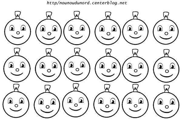 coloriage petites boules de nol avec yeux