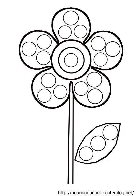 Coloriage fleur gommettes dessin par nounoudunord - Coloriage fleur nounou du nord ...