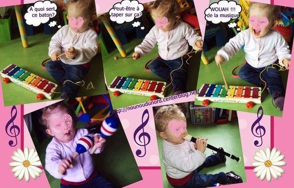 Soline 1 an découvre les instruments de musique