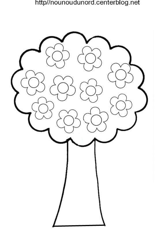 Arbre coloriage a fleurs a gommettes a coeurs - Fleur en coloriage ...
