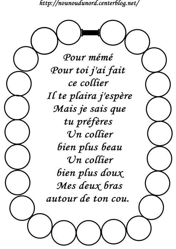 Coloriage collier et poème bonne fête MEME