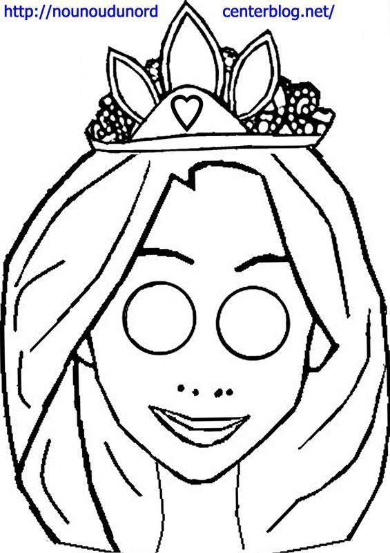 Masque Raiponce à imprimer dessiné par nounoudunord