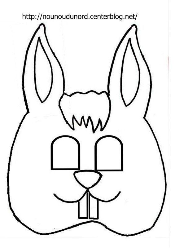 Masque  Lapin à imprimer dessiné par nounoudunord