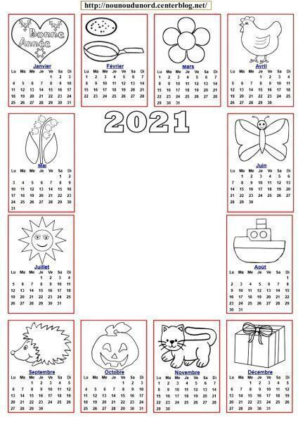 Calendrier 2021 A Colorier calendrier 2020