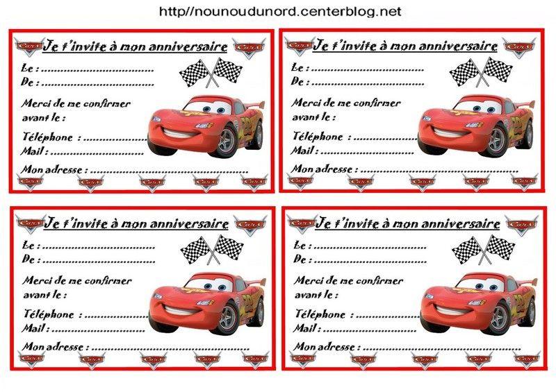 Extrêmement Etiquettes, invitations Cars pour anniversaire KS79