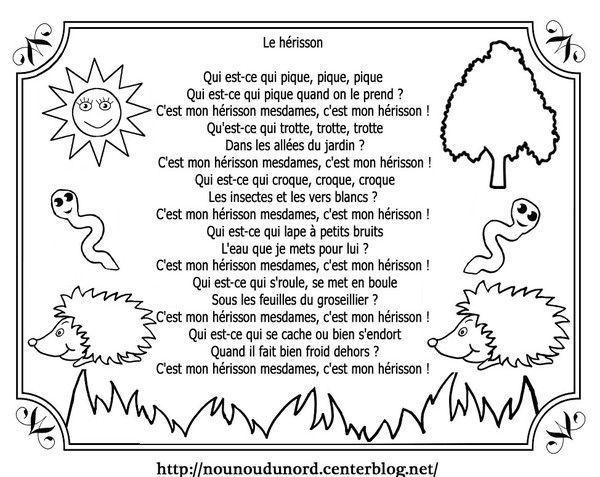 Comptine Le Hérisson Le Hérisson Poésie