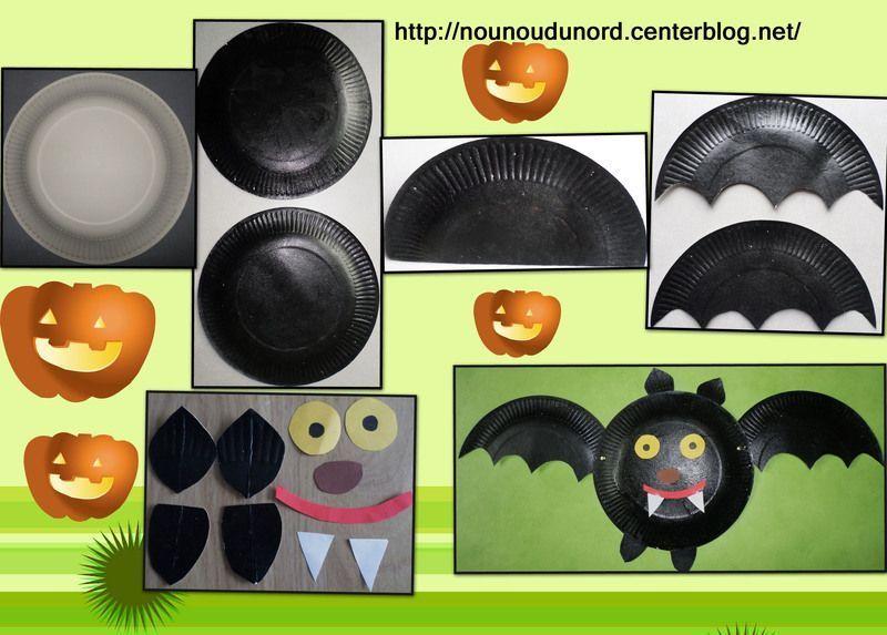 Chauve souris r alis e avec des assiettes en carton 2013 - Deco chauve souris halloween ...