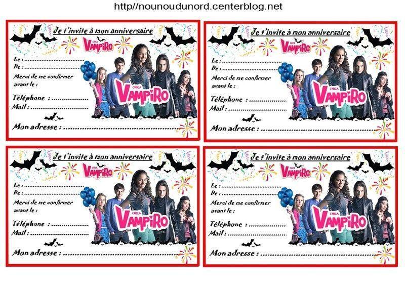 Assez Etiquettes et invitations CHICA VAMPIRO pour anniversaire FV08