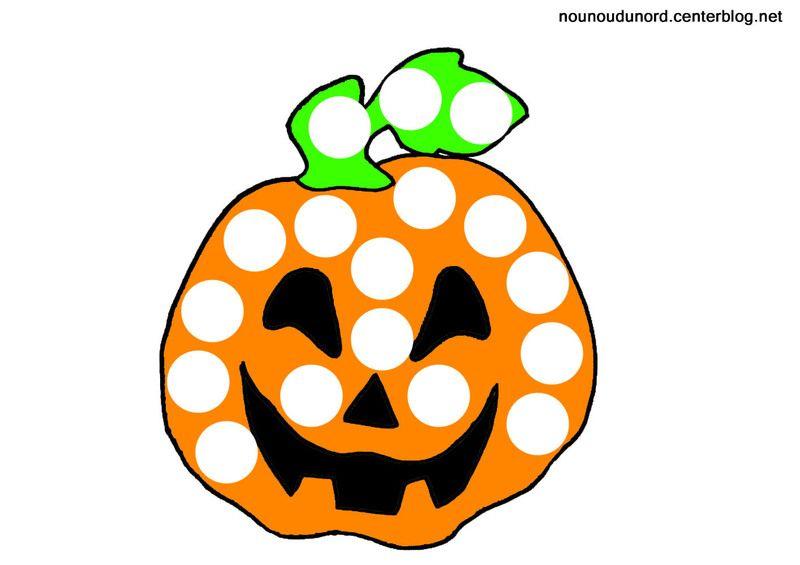 Coloriage halloween a gommettes - Citrouille halloween dessin couleur ...
