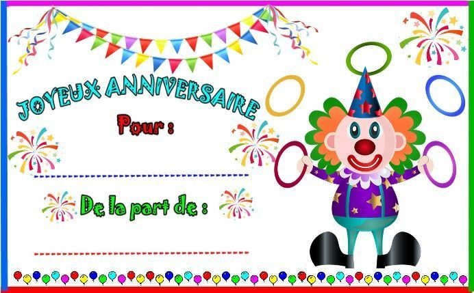 etiquettes et invitations clown jongleur pour anniversaire. Black Bedroom Furniture Sets. Home Design Ideas