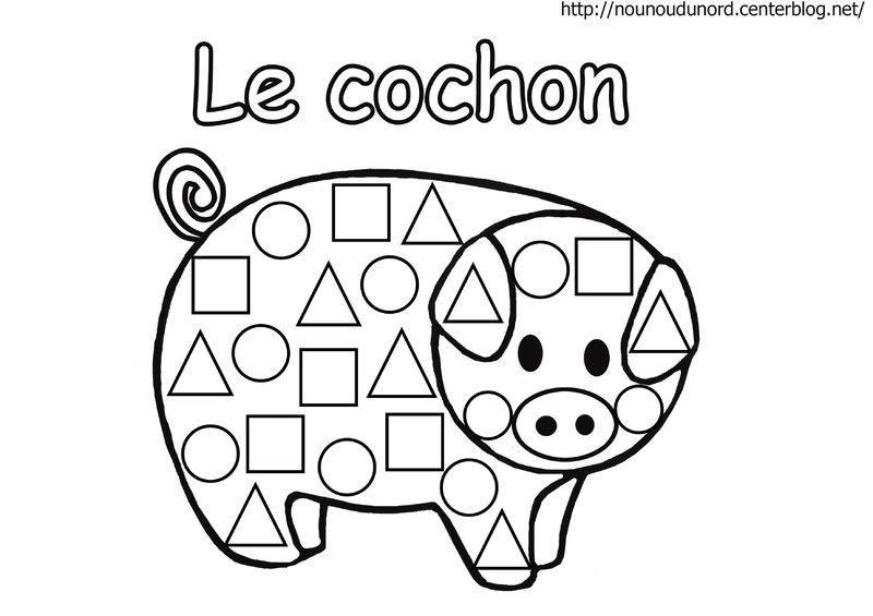 Cochon en coloriage gommettes en couleur - Coloriage des formes ...