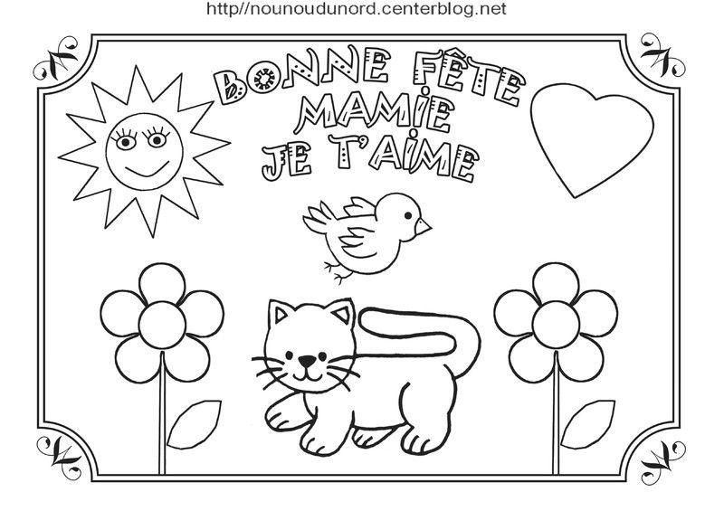 Chat En Coloriage Et Poème Bonne Fête Mamie