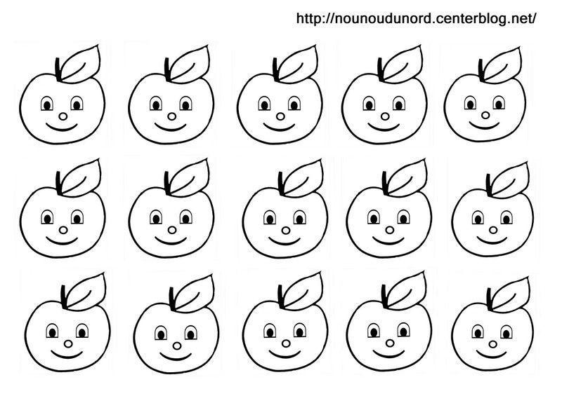 Gommette d 39 automne blanches et en couleur - Pommes dessin ...