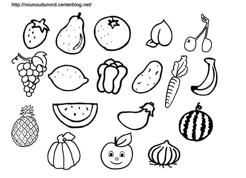 Coloriage Gommette Fruits Et Legumes.Gommettes Fruits Et Legumes En Couleur Ou A Colorier