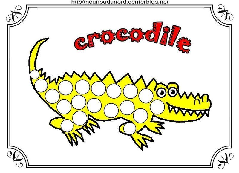 Crocodile coloriage gommettes en couleur - Crocodile coloriage ...