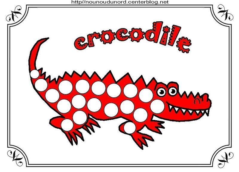 Crocodile coloriage gommettes en couleur - Crocodile en dessin ...