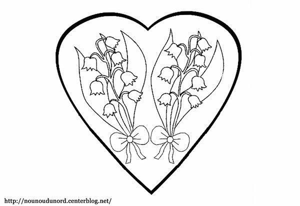 Coloriage muguet dans un coeur dessiné par nounoudunord