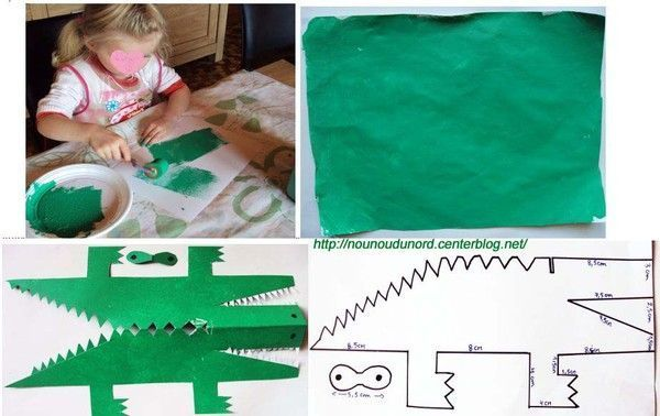Crocodile en pliage papier 2010 for Peinture crocodile