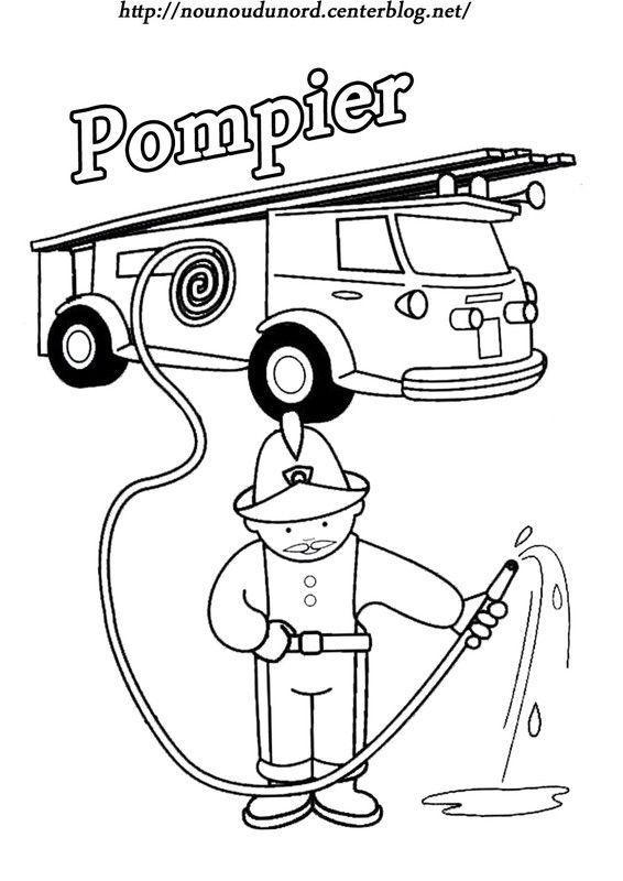 Coloriage pompier - Pompier dessin ...