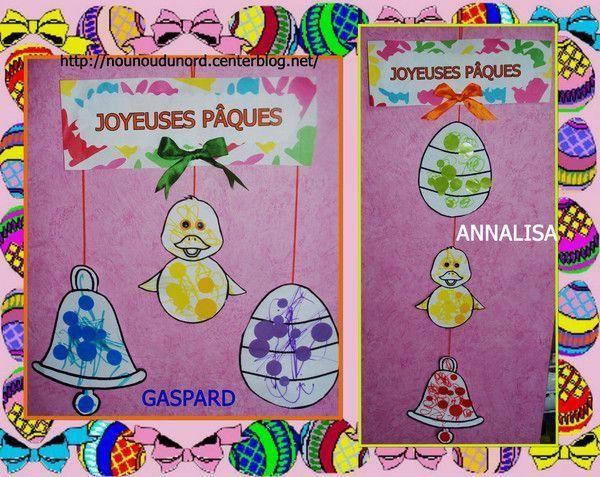 Mobiles de Pâques de Gaspard 20 mois et Annalisa 23 mois