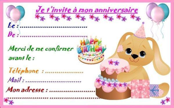 Etiquettes et invitations modele fille pour anniversaire - Carte anniversaire a imprimer gratuit fille ...